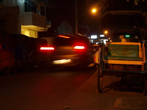 Car passed a becak